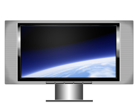 an illistration of a wide screen plasma television with image of the earth from orbit on the screen Stock Photo - 1613584