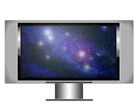 an illistration of a wide screen plasma television with image of a nebula on the screen Stock Photo - 1613588
