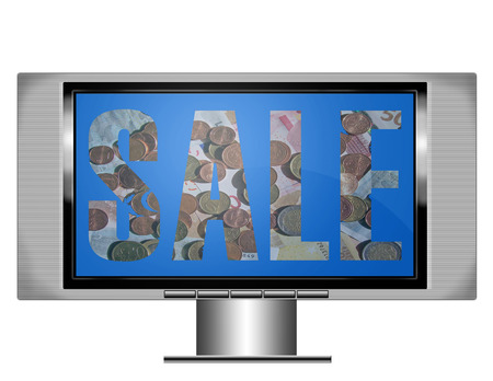 an illistration of a wide screen plasma television with the word sale on the screen Stock Photo - 1613589