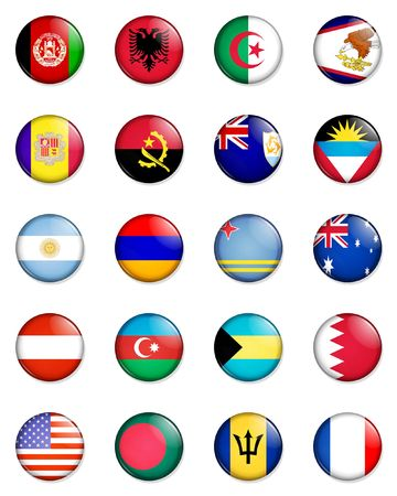 A selection of the flags of the nations of the world done in the style of small retro button badges. Stock Photo - 1831240