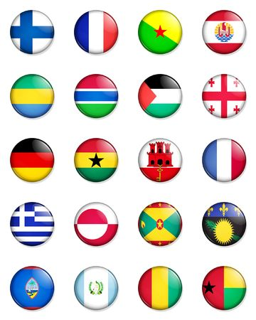 gaza: A selection of the flags of the nations of the world done in the style of small retro button badges.