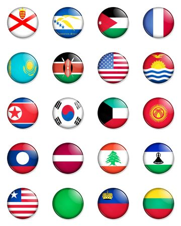 A selection of the flags of the nations of the world done in the style of small retro button badges. photo