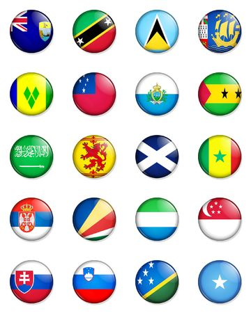 rampant: A selection of the flags of the nations of the world done in the style of small retro button badges.