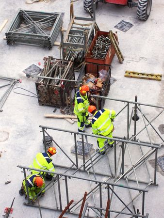 construction site full of workers and machinery at the building of a tunnel in malmo Stock Photo