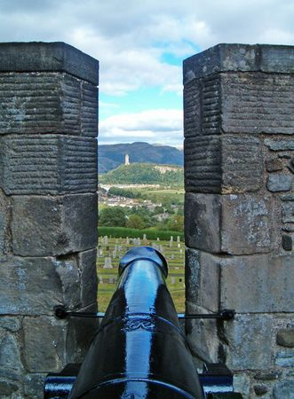 wallace: A view of the wallace monument in Scotland from the nearby stirling castle.