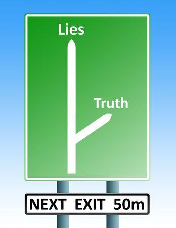carretera firmar con flechas que representan las carreteras a la mentira o la verdad  Foto de archivo - 2029061