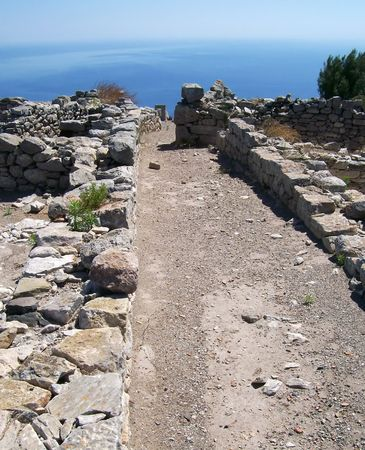 thira: part of the ruins of ancient thira on the greek island of santorini