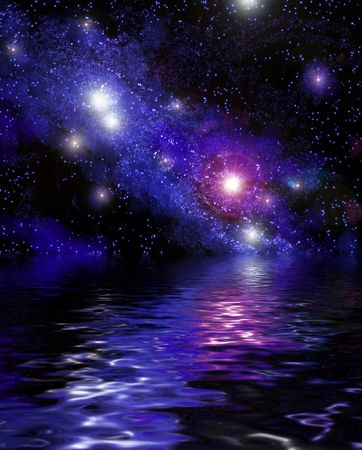 nebula reflecting on the ocean of an alien water world photo