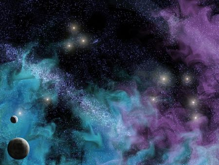 space scene with planets and smoky wispy nebula Stock Photo