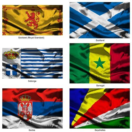 Part of a collection of the fabric flags of the world series Stock Photo