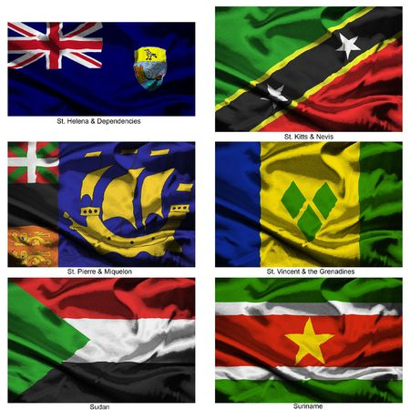 dependencies: Part of a collection of the fabric flags of the world series Stock Photo
