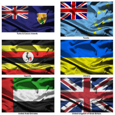 Part of a collection of the fabric flags of the world series photo