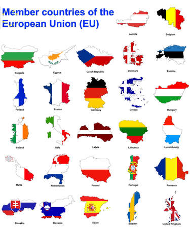 flag maps of all the member countries of the european union photo