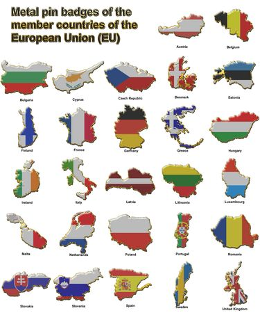 Metal pin badges in the shape of flag maps of all the member countries of the european union Stock Photo