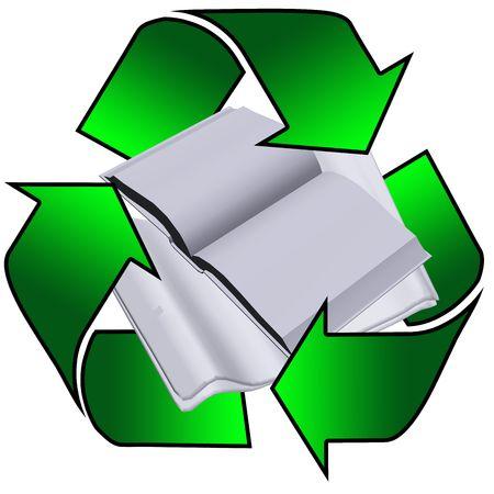 logo reciclaje: logo con el reciclado de peri�dicos y libros