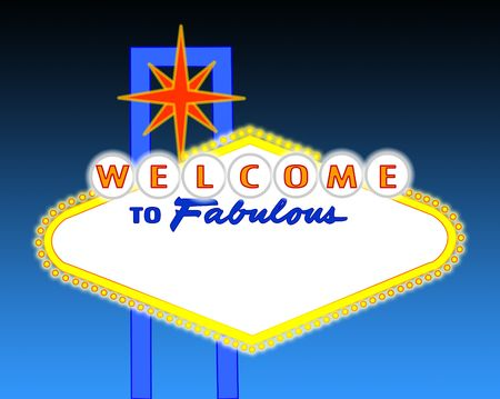 illustration of the neon illuminated Las Vegas sign left blank for your text