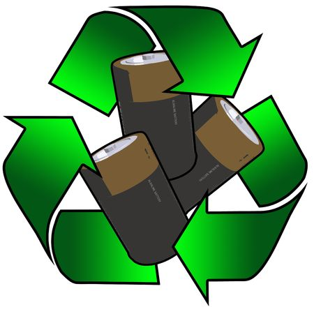 recycling logo with batteries photo