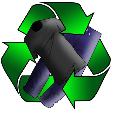 protecting: recycling arrows surrounding clothes