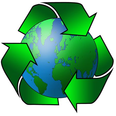 recycling arrows surrounding the planet earth Stock Photo