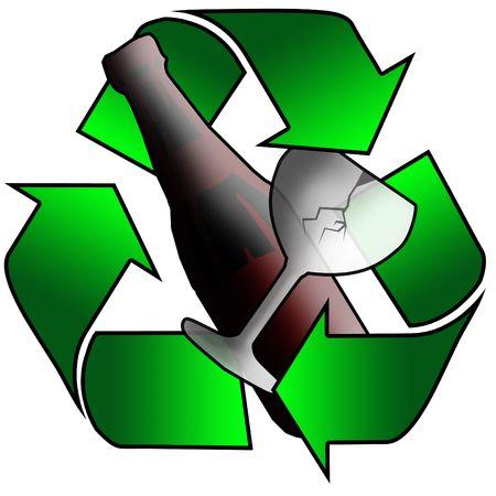 recycling arrows surrounding glass photo