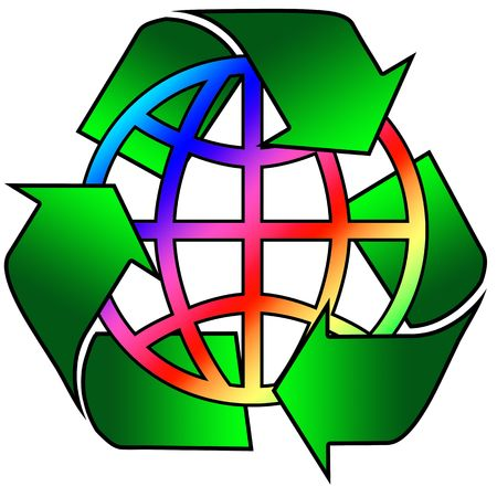 recycling logo with rainbow globe in centre Stock Photo - 2933426
