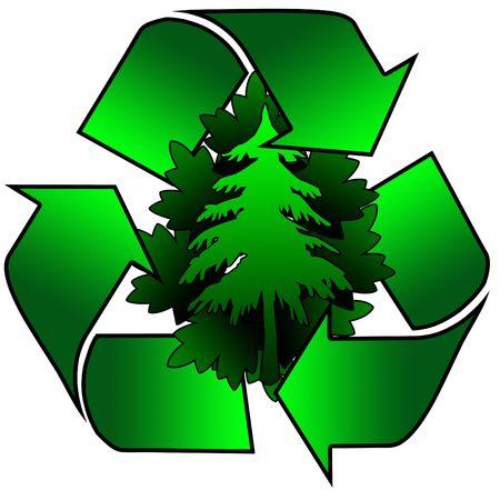 logo reciclaje: logo con el reciclaje de �rboles y hojas en el centro
