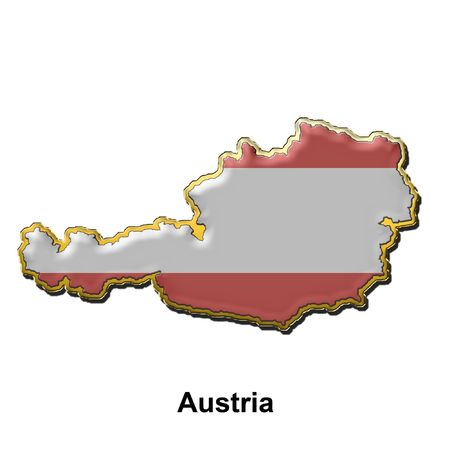 austria flag: map shaped flag of Austria in the style of a metal pin badge Stock Photo