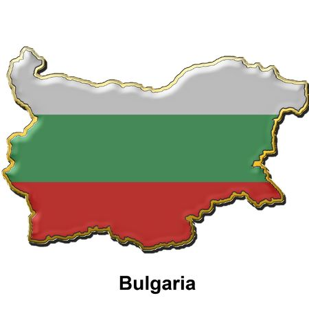 map shaped flag of Bulgaria in the style of a metal pin badge photo
