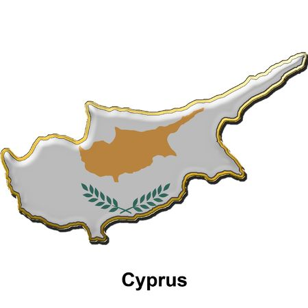 map shaped flag of Cyprus in the style of a metal pin badge Stock Photo - 2933341