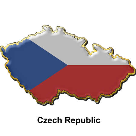 map shaped flag of Czech Republic in the style of a metal pin badge Stock Photo - 2933340
