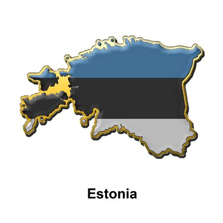 map shaped flag of Estonia in the style of a metal pin badge Stock Photo - 2933352