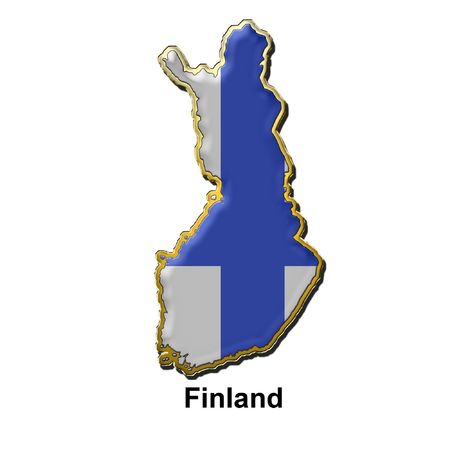 map shaped flag of Finland in the style of a metal pin badge Stock Photo - 2933329