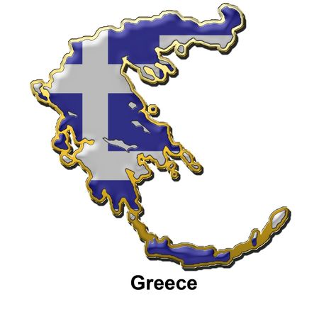 map shaped flag of Greece in the style of a metal pin badge photo