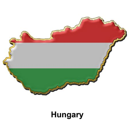 map shaped flag of Hungary in the style of a metal pin badge