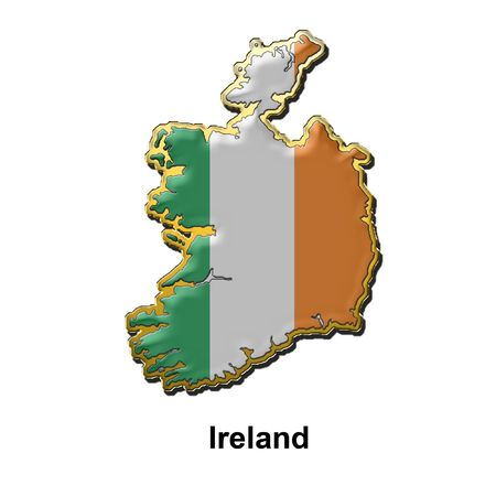 map shaped flag of Ireland in the style of a metal pin badge Stock Photo - 2933351