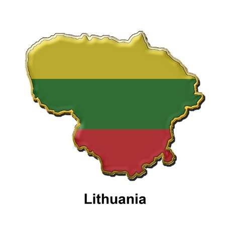 map shaped flag of Lithuania in the style of a metal pin badge Stock Photo - 2933356