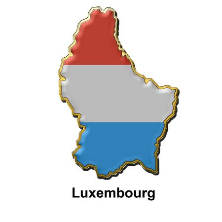 map shaped flag of Luxembourg in the style of a metal pin badge Stock Photo - 2933083