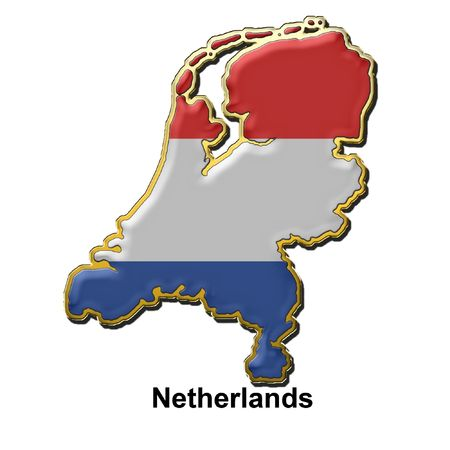 map pin: map shaped flag of Holland in the style of a metal pin badge Stock Photo