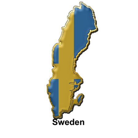 map shaped flag of Sweden in the style of a metal pin badge Stock Photo - 2933085