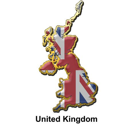 map shaped flag of Britain in the style of a metal pin badge Stock Photo - 2933348