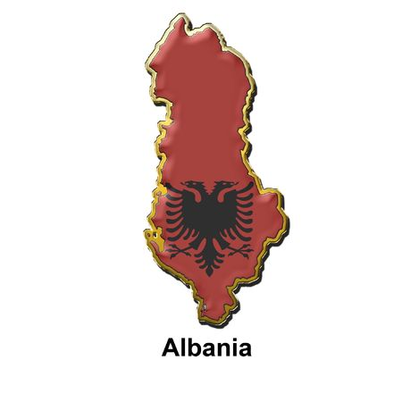 map shaped flag of Albania in the style of a metal pin badge photo