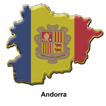 map shaped flag of Andorra in the style of a metal pin badge Stock Photo - 2933350