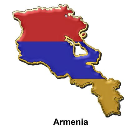 map shaped flag of Armenia in the style of a metal pin badge photo