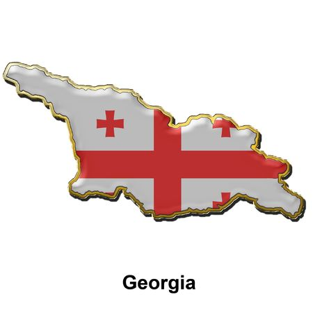 georgian: map shaped flag of Georgia in the style of a metal pin badge