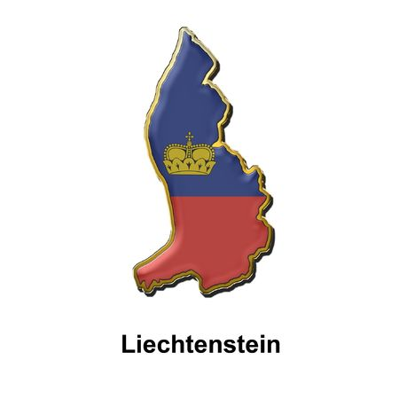 map shaped flag of Liechtenstein in the style of a metal pin badge photo