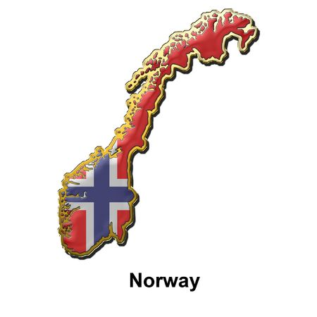map shaped flag of Norway in the style of a metal pin badge photo