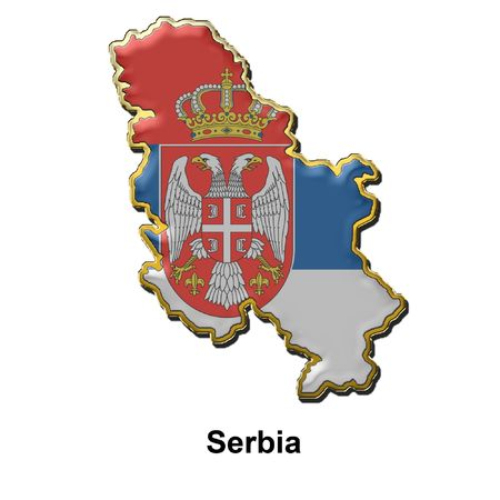 map shaped flag of Serbia in the style of a metal pin badge Stock Photo - 2933349