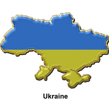 map shaped flag of Ukraine in the style of a metal pin badge photo