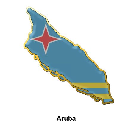 aruba: map shaped flag of Aruba in the style of a metal pin badge