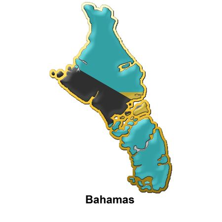 bahamas: map shaped flag of Bahamas in the style of a metal pin badge